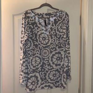 Grey & white INC tunic w/ heading embellishments
